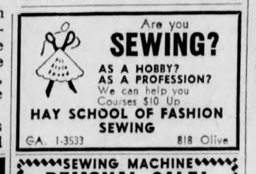 Hay School of Fashion ad, operated by Virginia Hay
