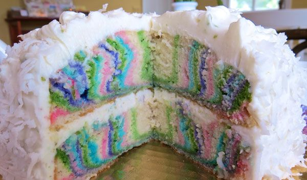 Rainbow Cake with piece missing