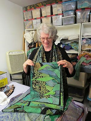 Janet showing fabric design