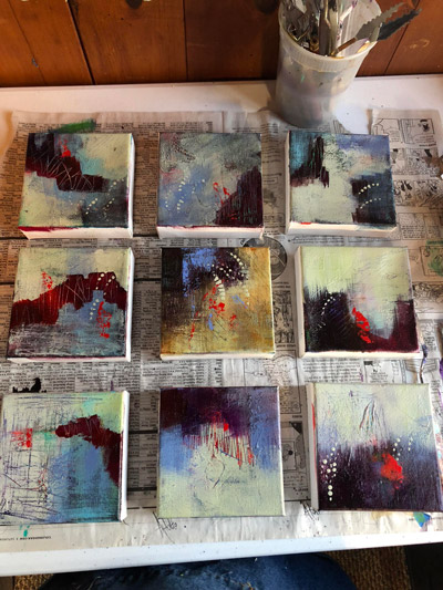 abstract small paintings finished