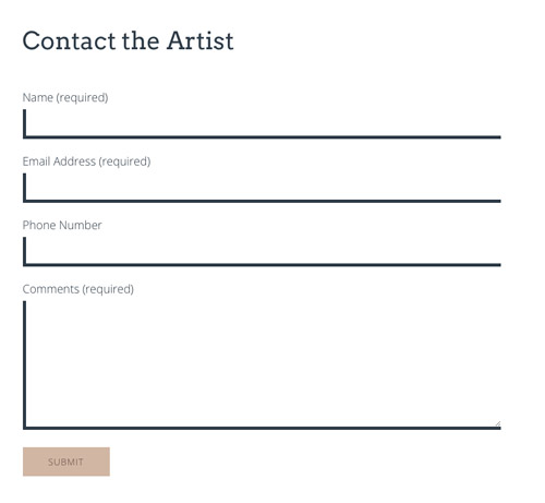 Artist contact page