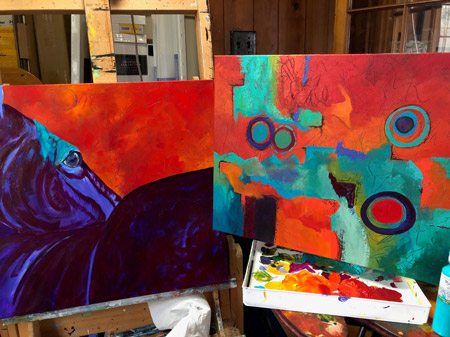 two paintings in progress